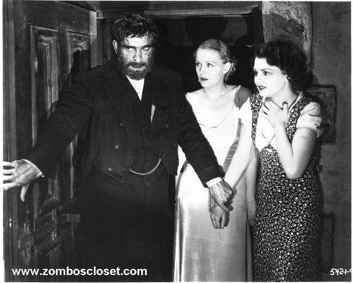 Boris Karloff, Gloria Stuart, and Lilian Bond in a scene from The Old Dark House