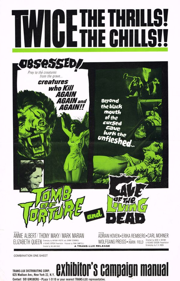 double bill movie pressbook  tomb of torture and cave of