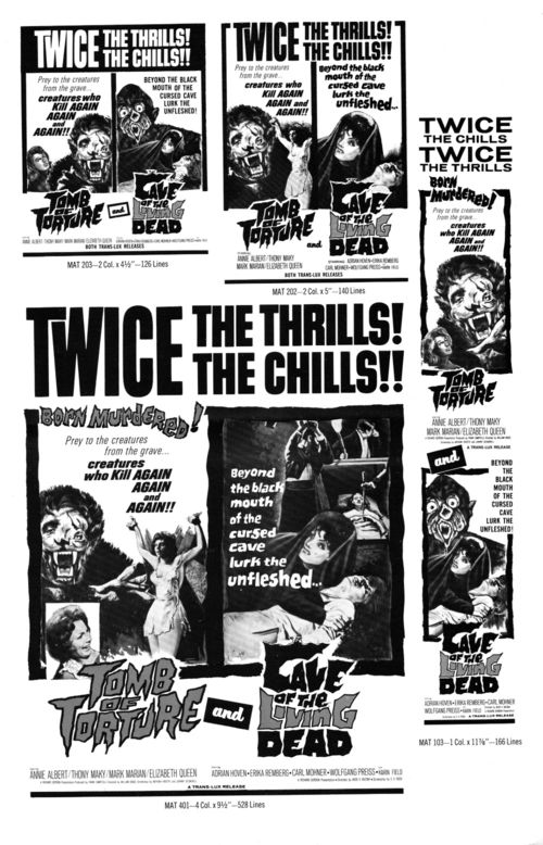 Tomb of Torture Cave of the Living Dead Double Bill Pressbook