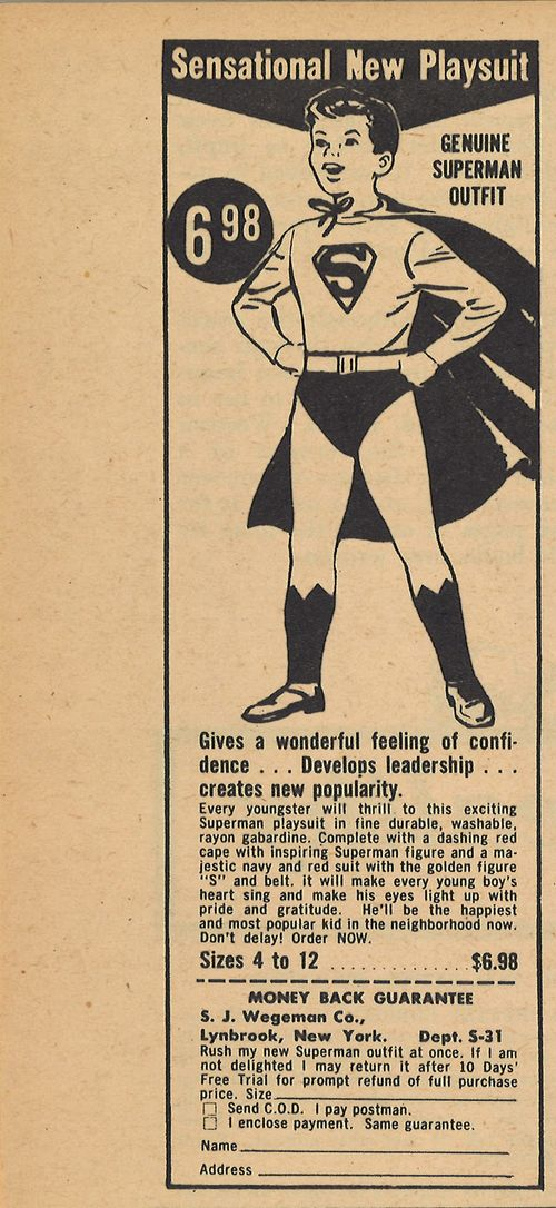 superman outfit in screen magazine 1955