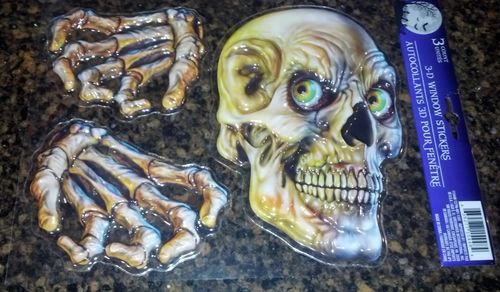 Halloween 3D Window Sticker, Skull