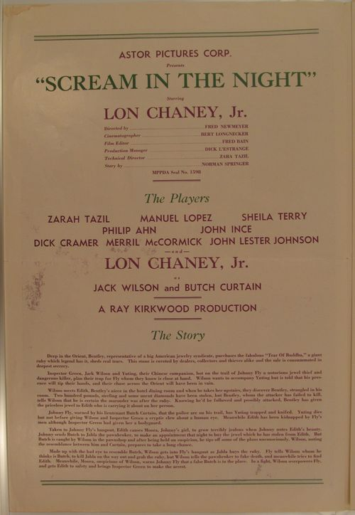 Scream in the Night Pressbook
