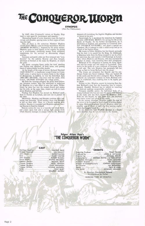 The Conqueror Worm Pressbook