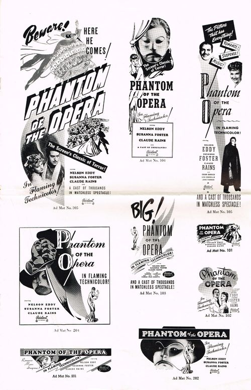 Phantom of the Opera Pressbook
