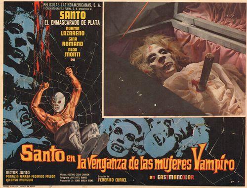 Santo En La Venganza De Las Mujeres Vampiro Mexican Lobby Card