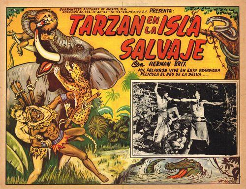 Mexican Lobby Card Tarzan En La Isla Salvaje