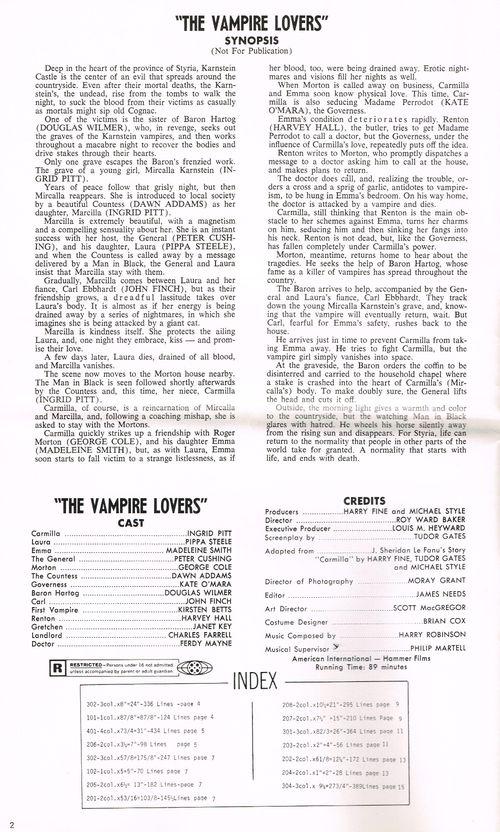 Vampire lovers pressbook 2