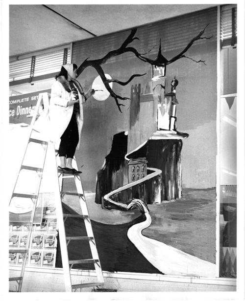 Halloween press photo 1962 shopping mall