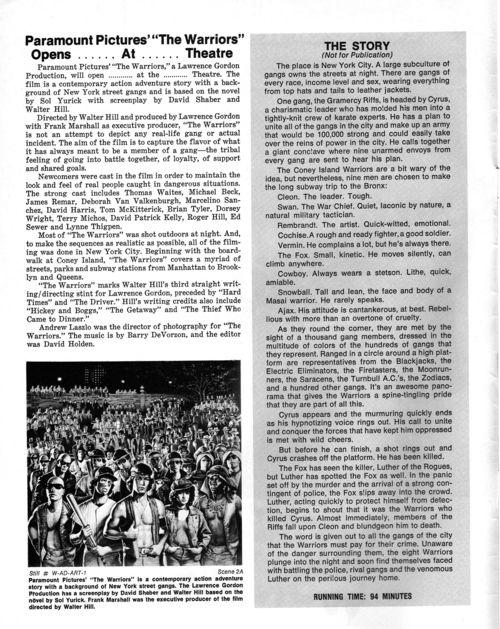 The Warriors Pressbook