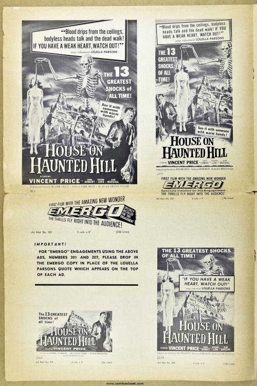House on Haunted Hill Pressbook 09