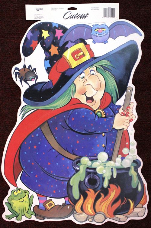 paper art halloween witch and cauldron decoration