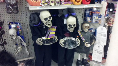halloween candy holding skeletons