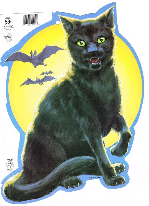 halloween eureka cat and bats decoration