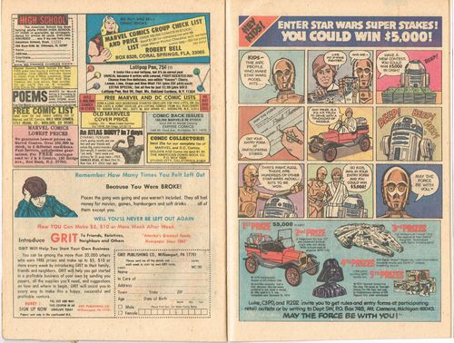 star wars comic book ad