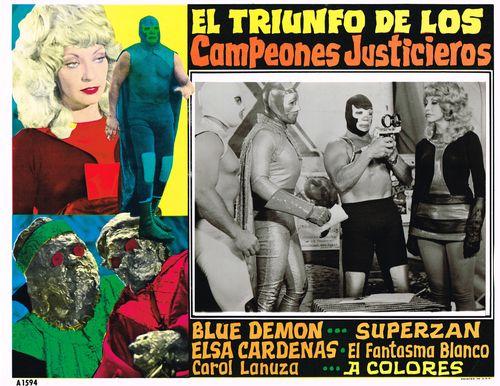 Mexican Lobby Card El Triunfo De Los Campeones Justicieros