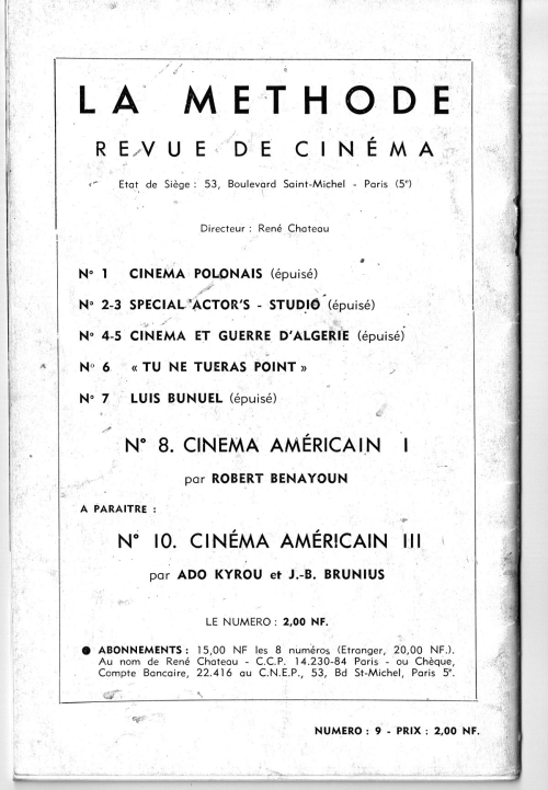 La Methode Revue de Cinema No. 9