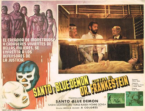 mexican lobby card santo y blue demon
