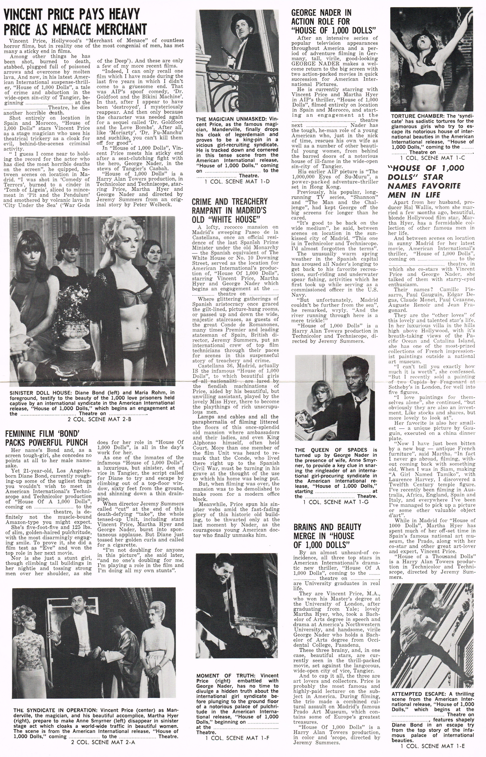 Pressbook: House of 1000 Dolls (1967) (From Zombos' Closet)