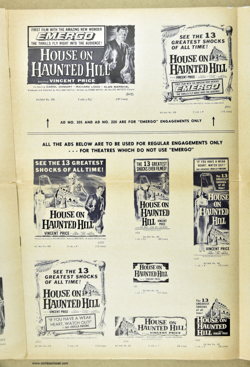 House on Haunted Hill Pressbook 08