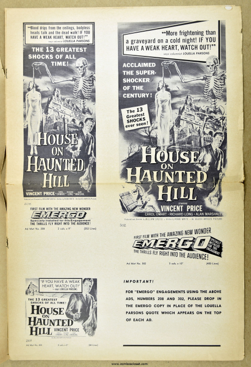House on Haunted Hill Pressbook 12