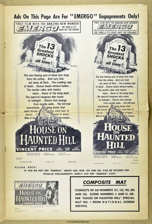 House on Haunted Hill Pressbook 13