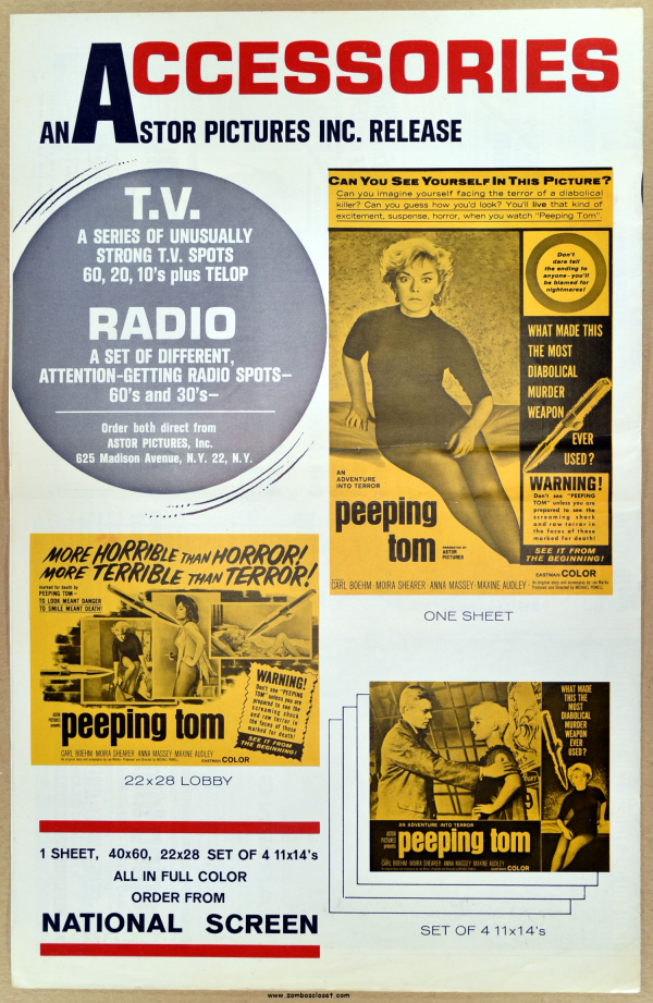 Peeping Tom 1960 Pressbook From Zombos Closet