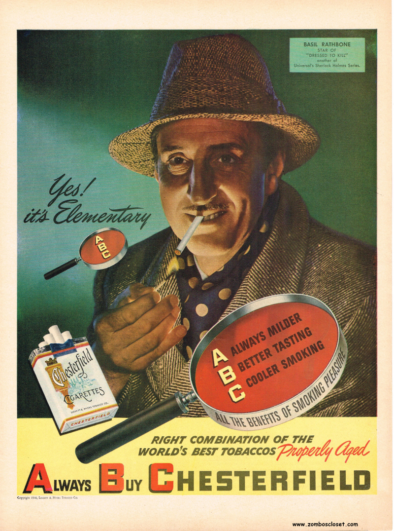 Basil Rathbone Holmes Advertisement