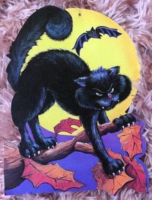 Halloween black cat with moon die cute