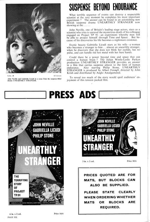 Unearthly Stranger Pressbook