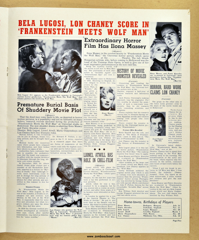 Frankenstein Meets the Wolf Man Pressbook 01