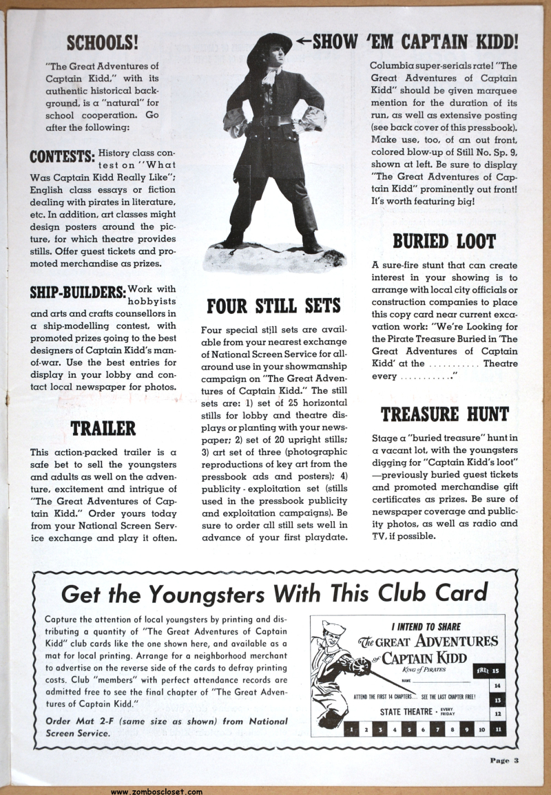 Great Adventures of Captain Kidd Pressbook 01