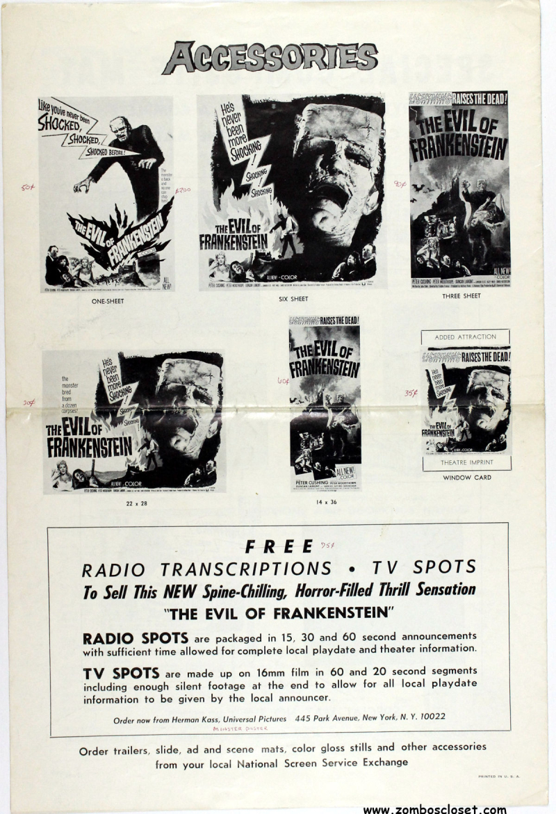 Evil of frankenstein pressbook 01