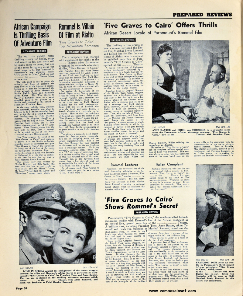 Five Graves to Cairo Pressbook 30