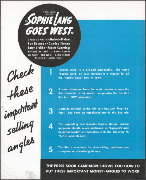Sophie Lang Goes West Pressbook01